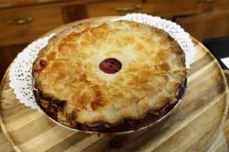 Fresh baked cranberry pie.